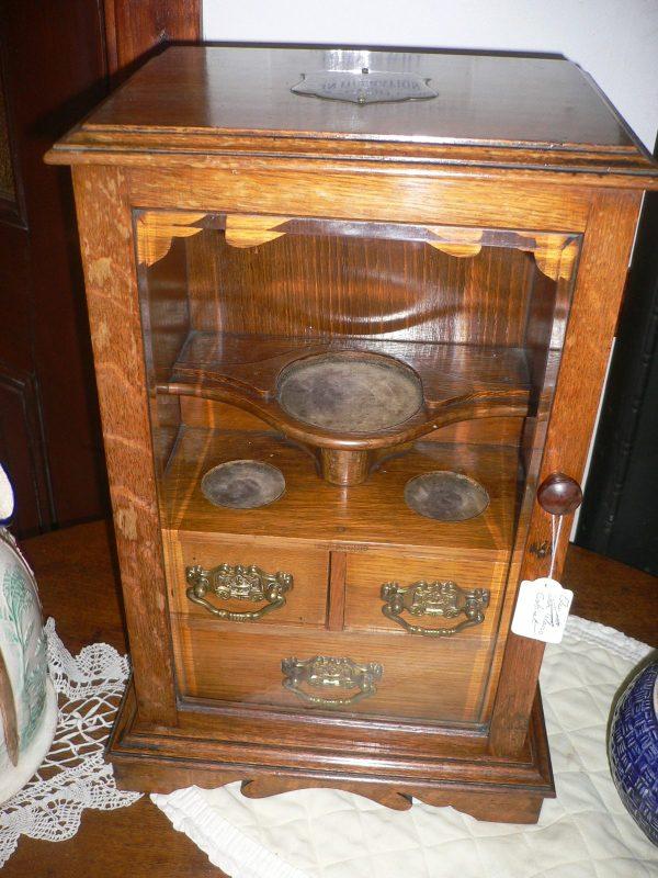 victorian oak tobacco cabinet