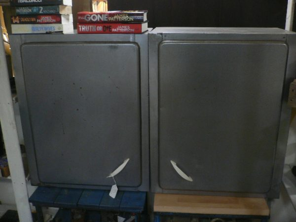 Pair Stripped Industrial Cabinets