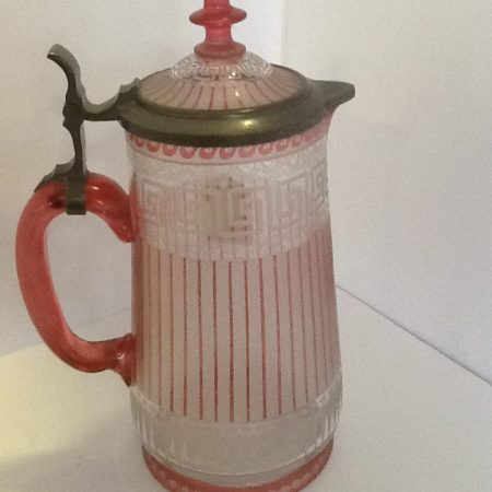 Flash Etched Glass Lidded Cranberry Jug