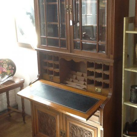 Late Victorian Carved Light Oak Secretaire